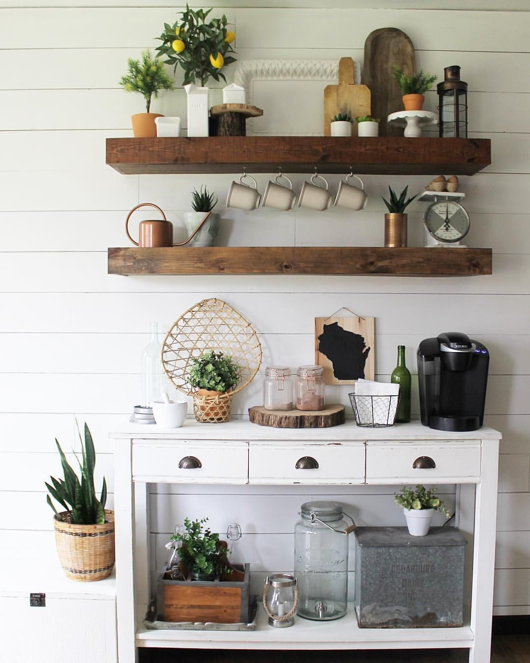 Home Coffee Bar Design Ideas: Finn And Bo Bohemian Farmhouse Style Shelves Coffee Bar