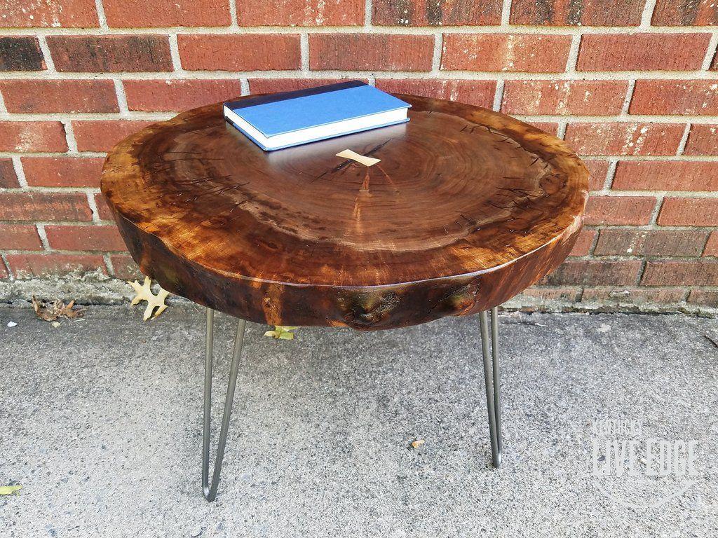 Rustic round coffee table round live edge coffee table claro walnut dark wood coffee table