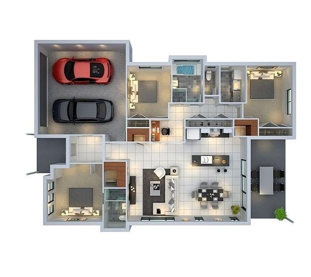 Denah Rumah Minimalis 1 Lantai 3 Kamar Tidur Dan Garasi Denah