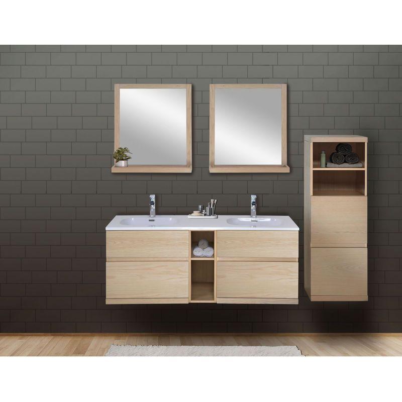 Ensemble Salle De Bain Chene 140 Cm Meuble Vasque 2 Miroirs Demi Colonne Enio Mob In Vanity Double Vanity Bathroom