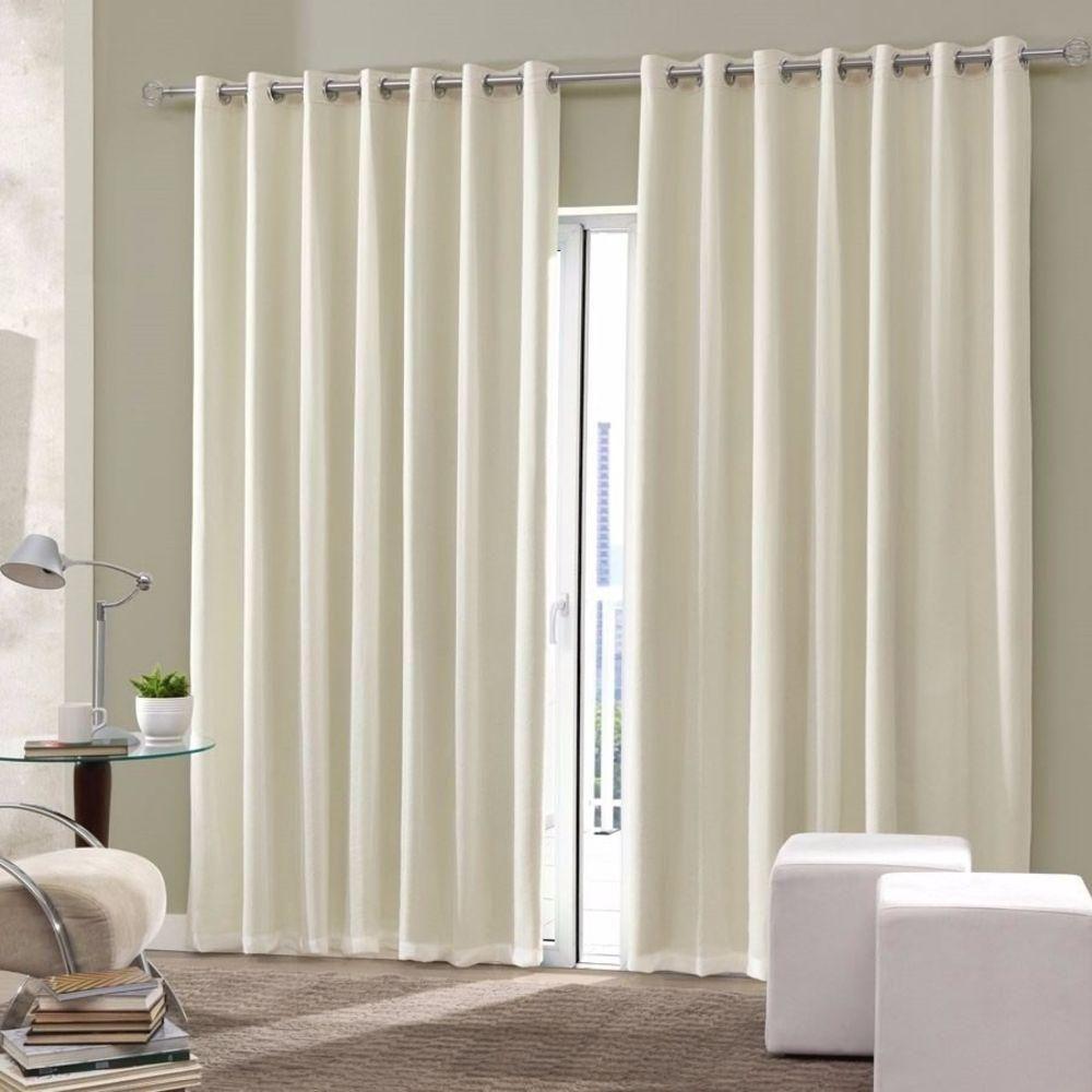 Foto 1 Cortina Blackout Tecido Sala Quarto 300×250 Marfim  ~ Como Fazer Uma Cortina Para Quarto
