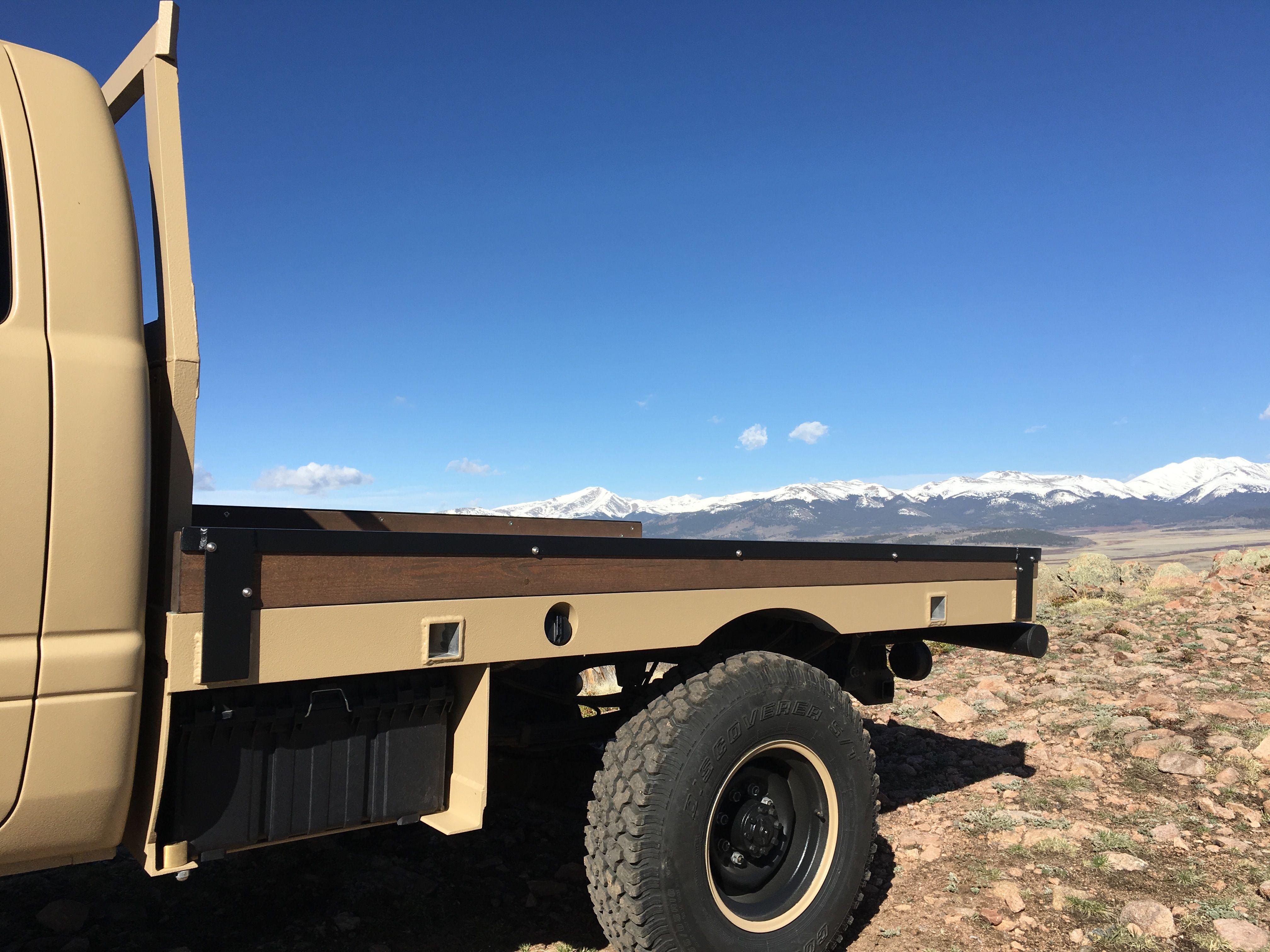 2nd Gen Dodge Custom Aluminum Flatbed With Side Boxes And Upol Raptor Paint Custom Truck Beds Built Truck Monster Trucks