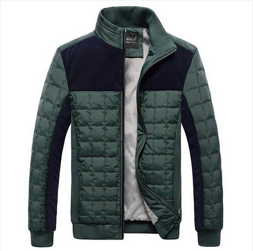 RIPBLINK Winter Coats Mens Overcoat Casual Patchwork Warm Parka Plaid OverCoat Male Plaid Brief Windbreaker Fashion Jackets