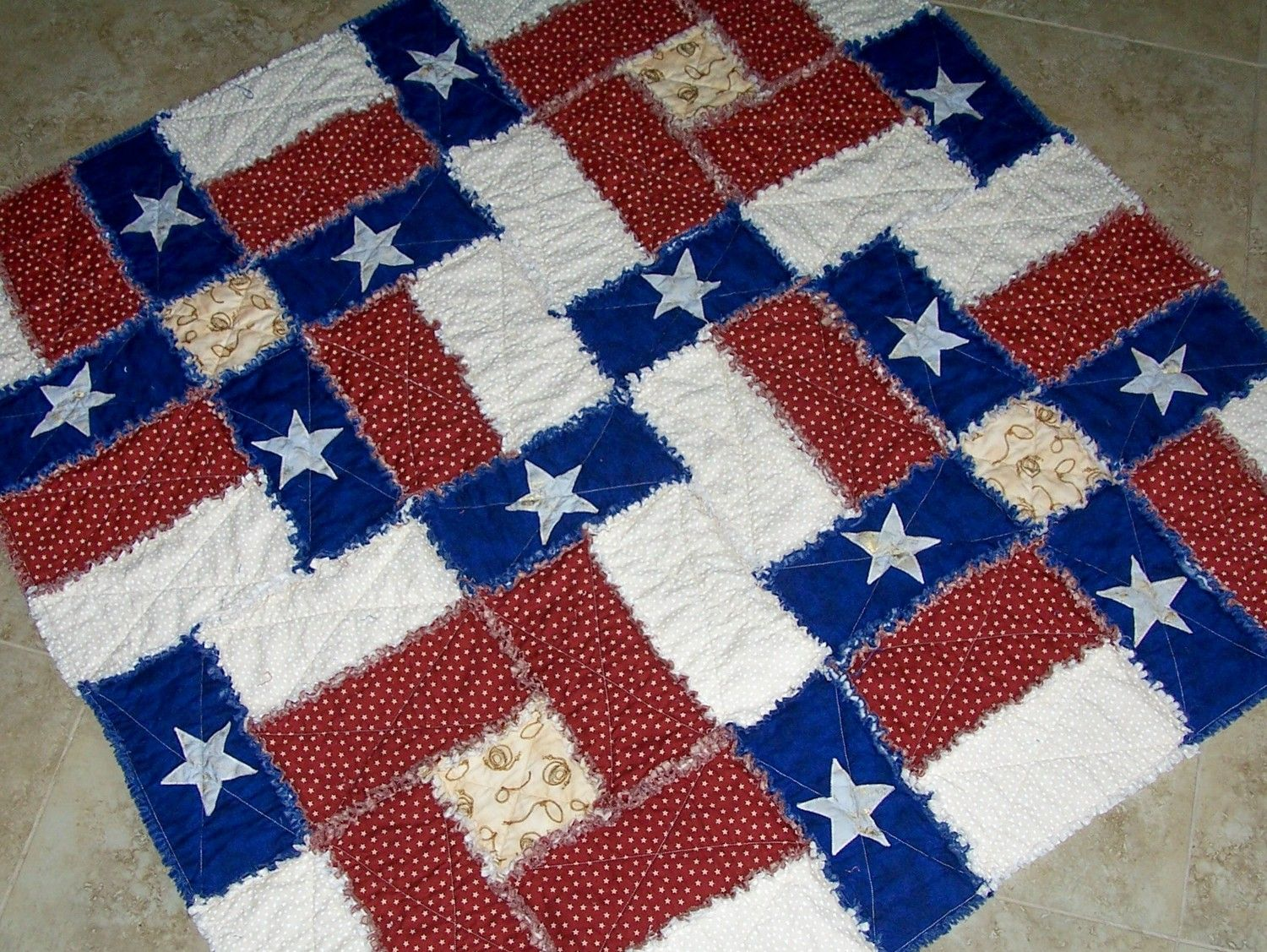 TEXAS FLAG RAG Quilt Pattern Can be made with regular cottons or ... : rag quilt patterns for beginners - Adamdwight.com