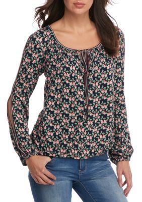 Sophie Max Navy Floral Printed Open Sleeve Top With Ties