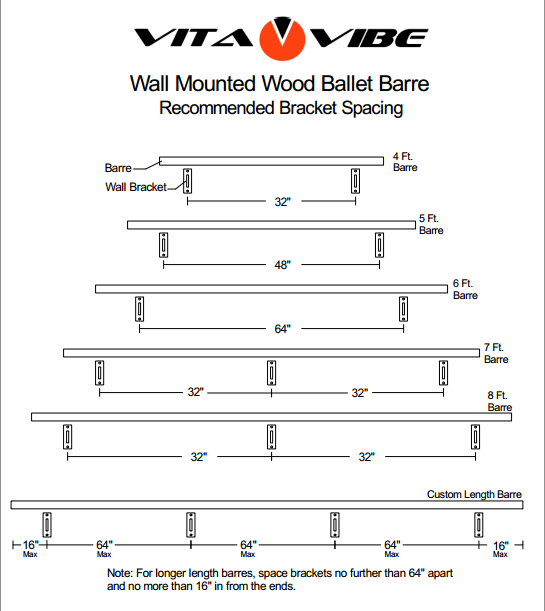 Wall Mounted Wood Ballet Barre Recommended Bracket Spacing Barre