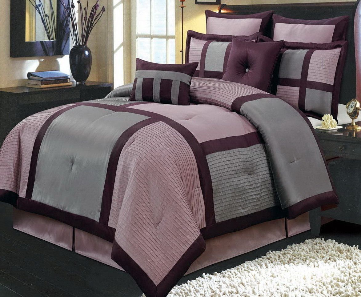 Modern Color Block Purple And Grey Comforter And Shams Set With