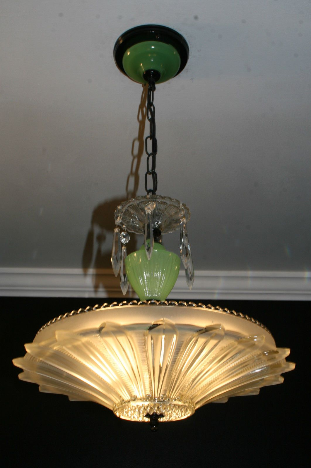 Antique jadiete green sunflower art deco light fixture