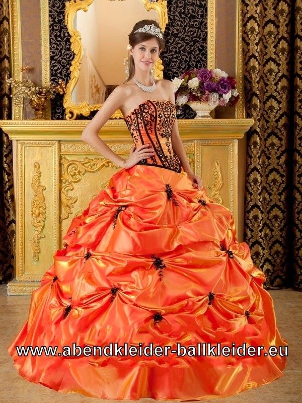 Corsage Abendkleid Brautkleid Ballkleid in Orange | Kleider ...