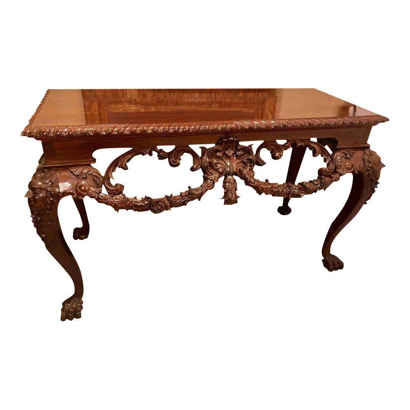 Custom Carved Console Table With Claw Feet And Carved Heads Circa 1940s Console Table Table Table Furniture