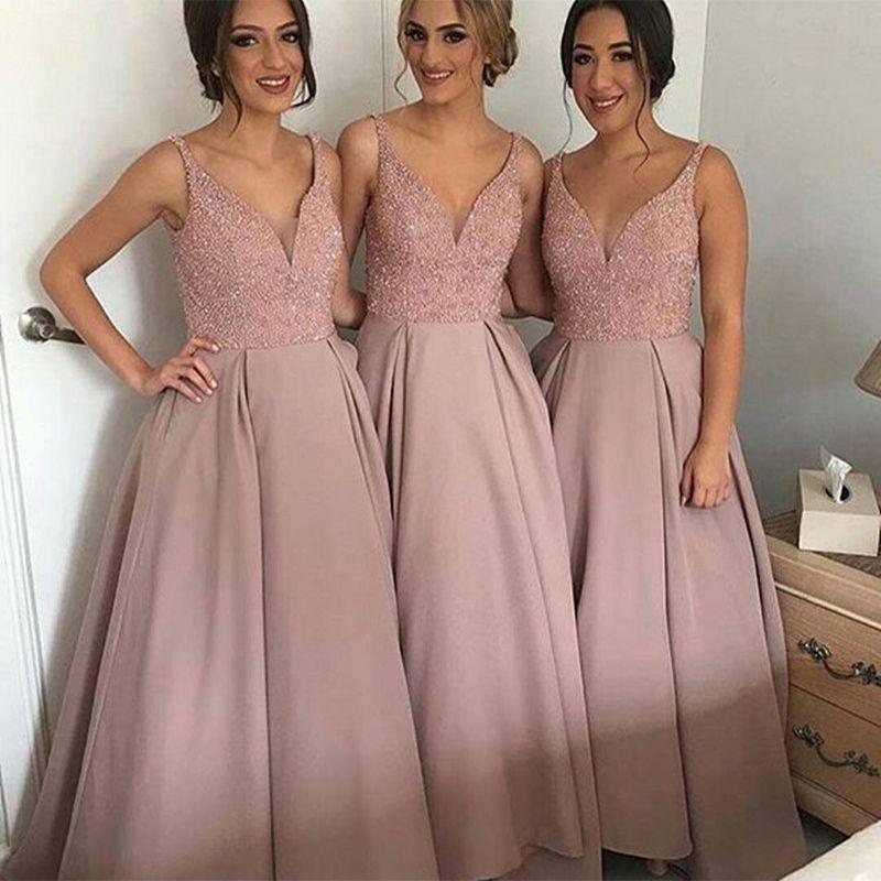 Free Shipping  Buy Best Hot Sale Bridesmaid Dresses Long Pink Wedding 39ed201ebad4