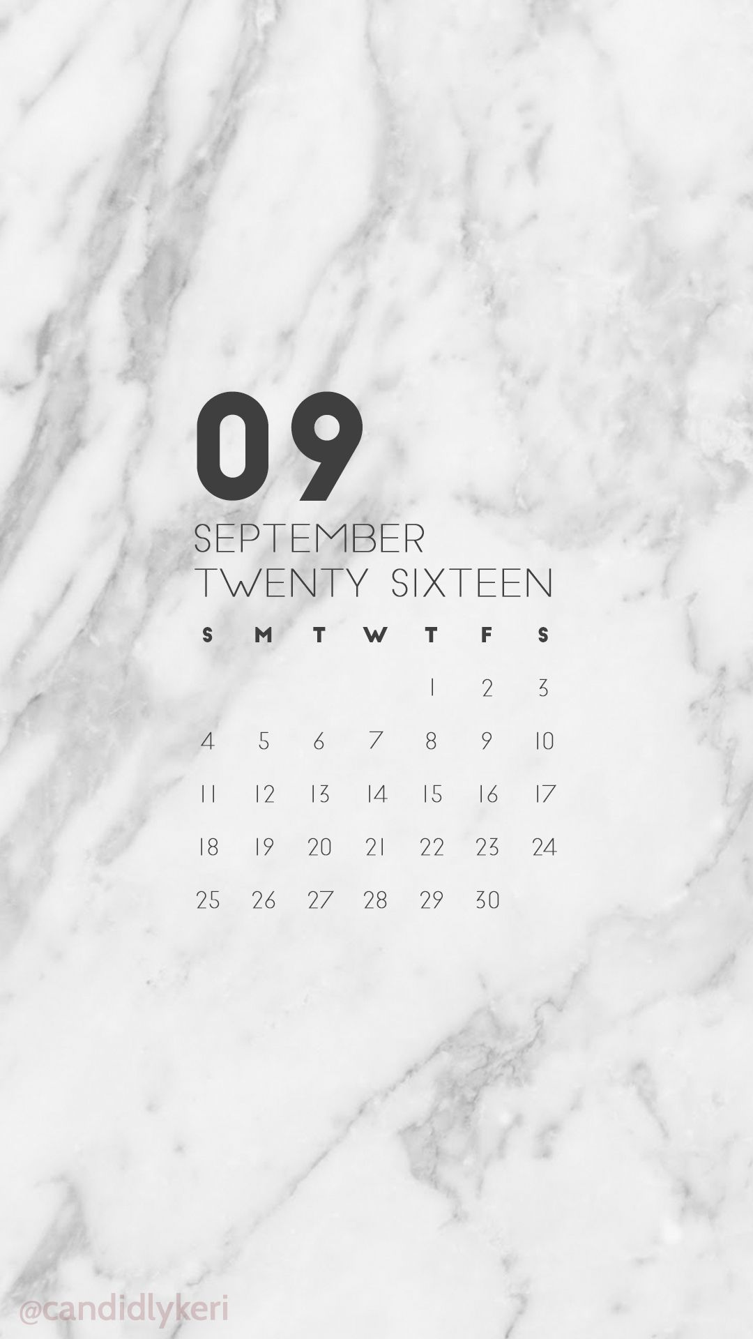 Marble Calendar Wallpaper : Marble organized clean slate september calendar