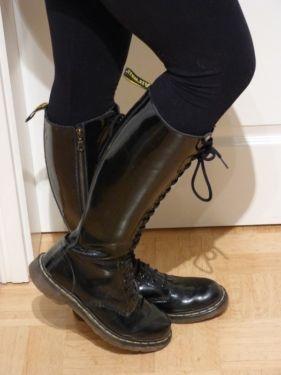 Original Doc Martens Stiefel Schwarz Lack 20 Loch Doc Martens Stiefel Stiefel Dr Martens Stiefel