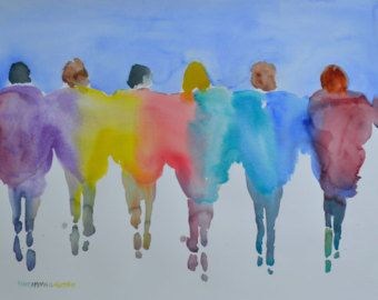 Minimalist Passion People 2212016 Original Watercolor by ArtistRMG