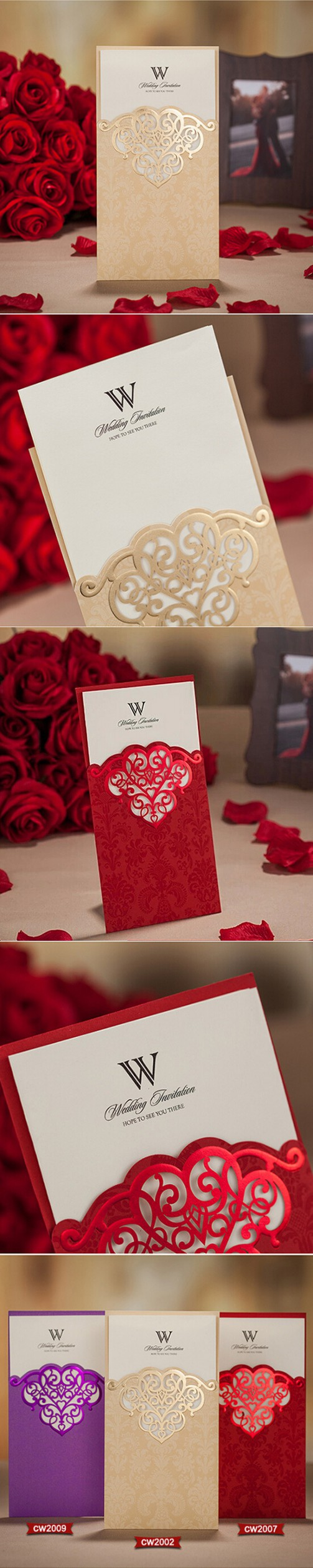10 pieces/lot) New Wedding Invitations Card Laser Cutting Sweet ...