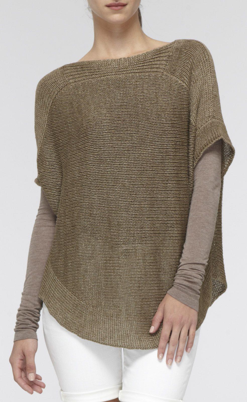 Short-Sleeve Linen Boatneck Sweater | Vince