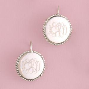 Monogrammed Braided Circle Sterling Silver Earrings