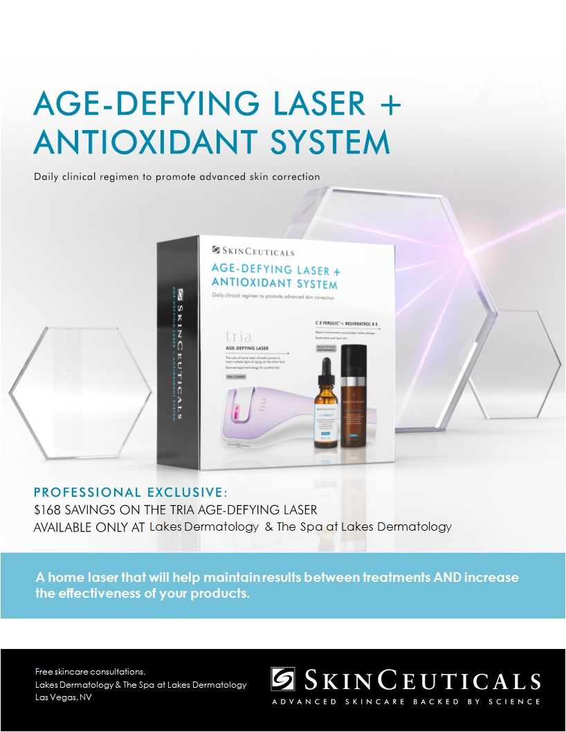 Skinceuticals Revolutionary Products And The Homecare Tria Unit Are Available In A Kit Now Available At Lakes Dermat Dermatology Skin Correcting Skinceuticals