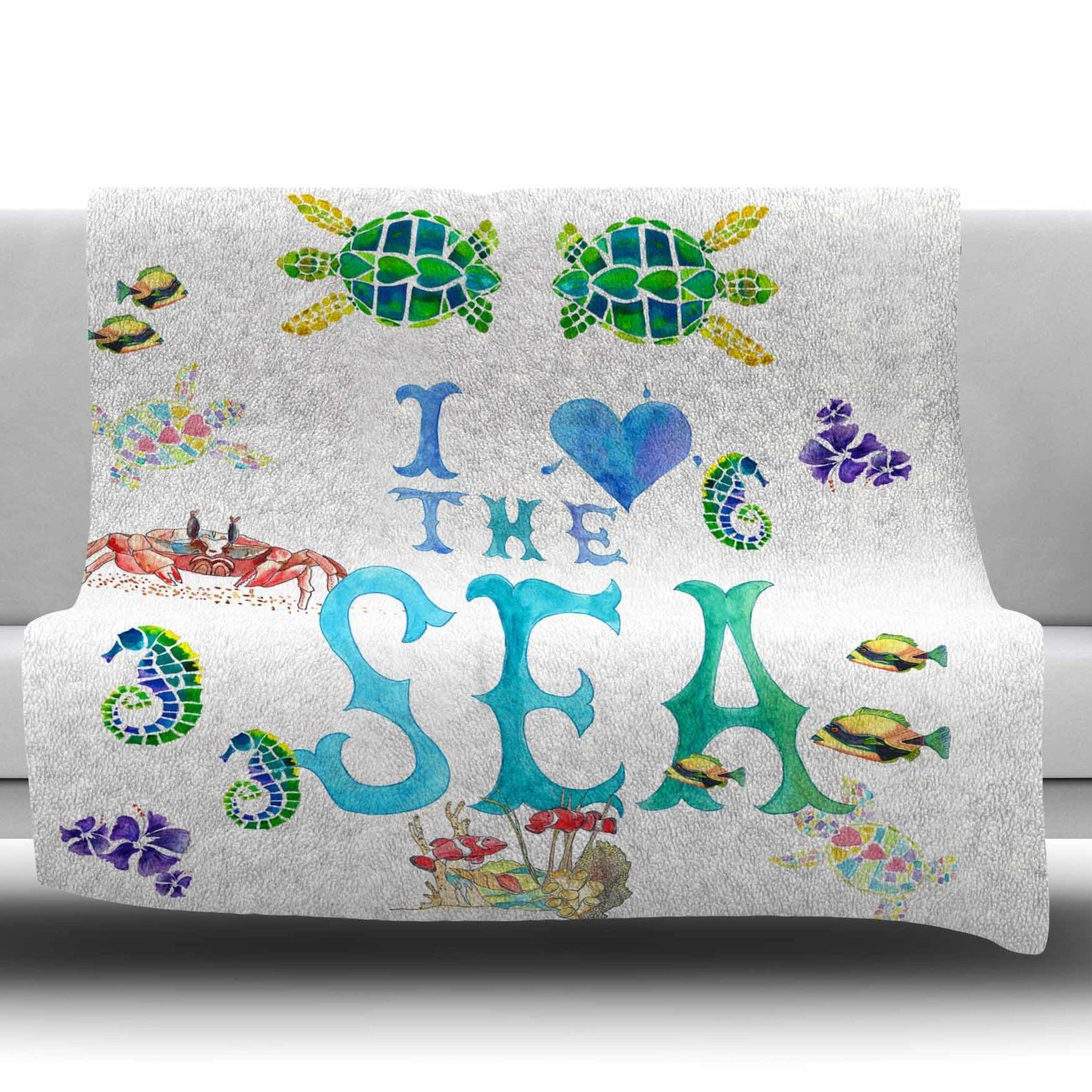 I Love The Sea by Catherine Holcombe Fleece Throw Blanket