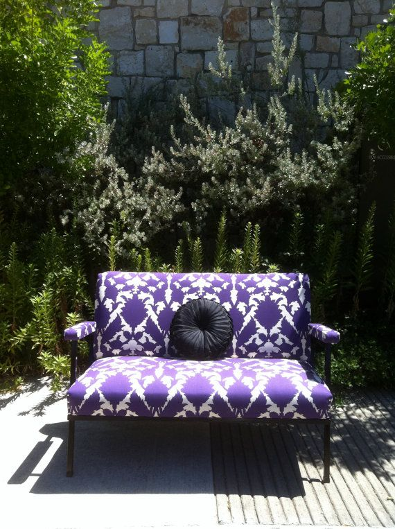 Vintage Settee with Graphic Purple Print by REVELationDECOR, $695.00