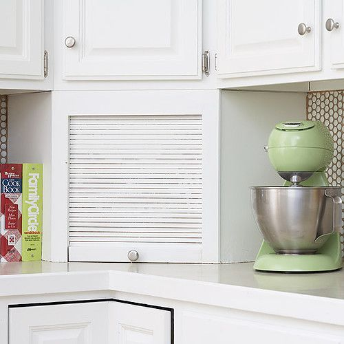 Use This Trick In Your Kitchen And Reclaim Lost Storage Space With A Corner Appliance  Garage. The Cabinet Conceals Coffeemakers, Toasters, ...
