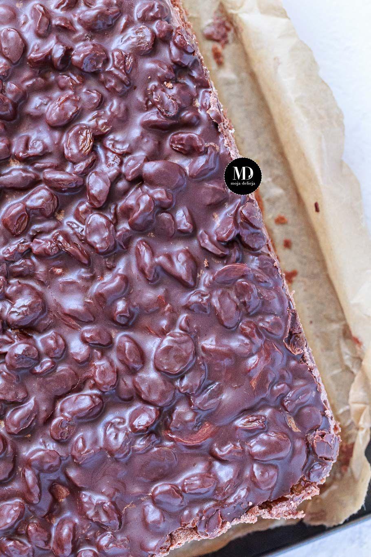 😋Rodzynkowiec - ciasto z rodzynkami dla dorosłych 😁na dużą blachę. Mięciutki i delikatny biszkopt kakaowy przełożony czekoladową masą budyniową, oblany grubą warstwą polewy czekoladowej z moczonymi w trunku %  rodzynkami. 🍫🍰 Przepyszne ciasto z charakterem. 😊Taki tort czekoladowy, ale przygotowany na dużą blachę. Idealny na wszelkie imprezy, dla dużej liczby gości. 🎈🎉