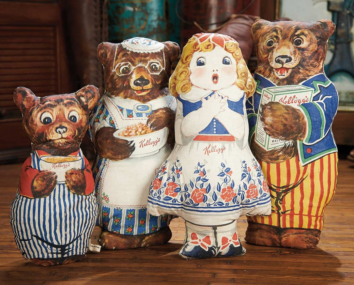 View Catalog Item - Theriault's Antique Doll Auctions Lot: 425. Set,Four American Lithographed Cloth Advertising Dolls