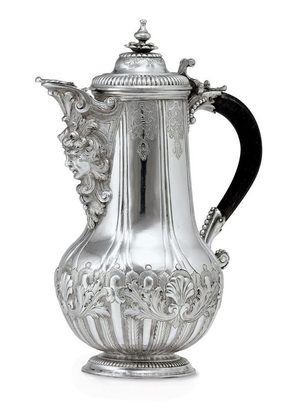 A MALTESE SILVER COFFEE POT -  CIRCA 1690.: