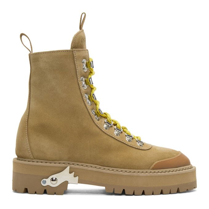 b205c613d0436 OFF-WHITE Beige Suede Hiking Boots. #off-white #shoes #   Off-White ...