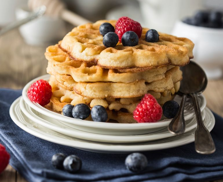Sour Cream Waffles - such an easy recipe!  Perfect for holiday brunches.  Sponsored by Daisy Sour Cream #DollopOfDaisy  #ad
