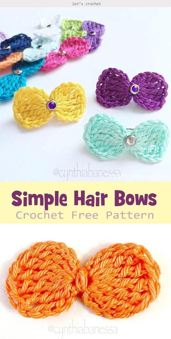 Simple Hair Bows Crochet Free Pattern #crochetbowpattern