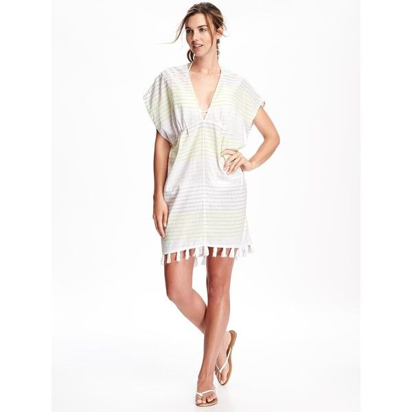 3d68a28cc8b7a Old Navy Womens Striped Gauze Tassel Swim Cover Up ( 20) ❤ liked on  Polyvore featuring swimwear