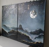 Night painting oil Mountains painting oil Moon Space Oil painting gold Leaf Painting Gala Night painting oil Mountains painting oil Moon Space Oil painting gold Leaf Pain...