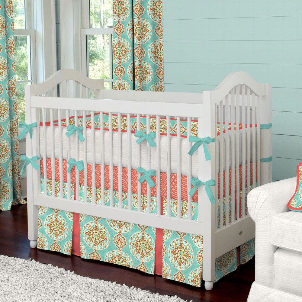 coral and aqua medallion crib bedding carousel designs sophisticated yet fun our coral and. Black Bedroom Furniture Sets. Home Design Ideas