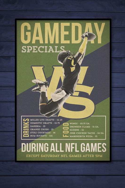 Graphic Design Creative Football Specials Poster Baker S Water