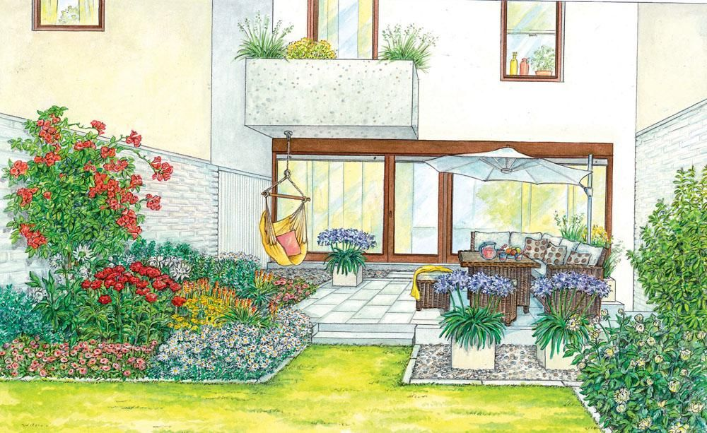 1 Garten 2 Ideen Reihenhaus Terrasse Mit Neuem Gesicht Garten Design Moderne Landschaftsgestaltung Garten Planen