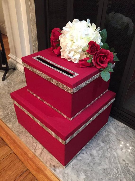 red and black wedding card box with hydrangea and silver bling by