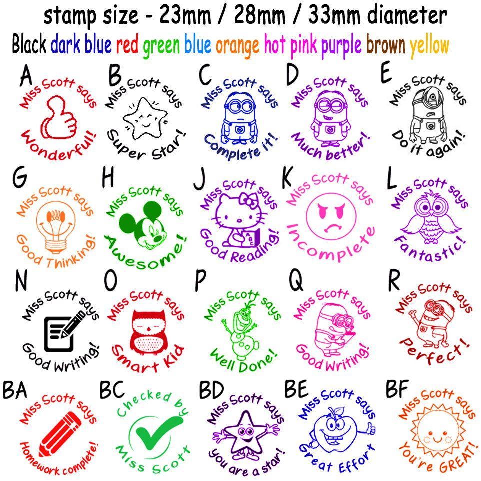 Custom Name Rubber Stamp Self Inking School Teacher Homework