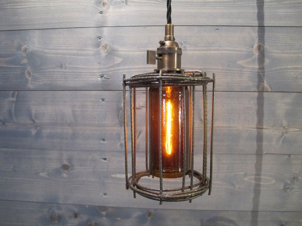 Industrial cage ceiling light industrial lighting upcycled cage pendant repurposed light ceiling