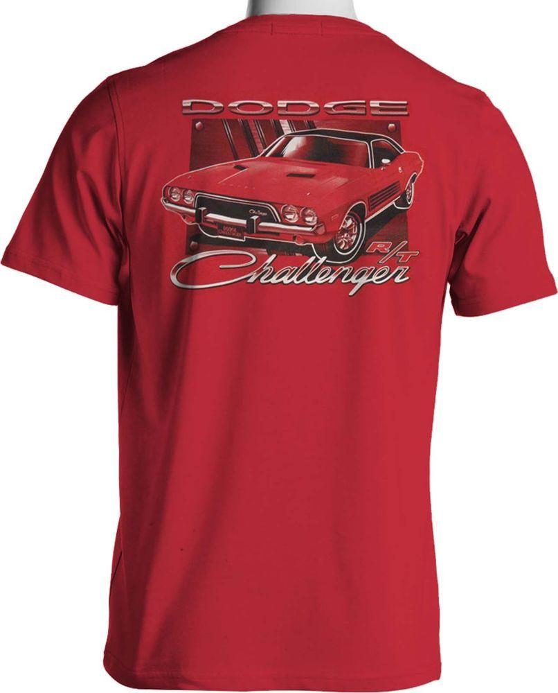 Mopar Dodge Challenger Rt T Shirt Hemi Muscle Car Mens Red