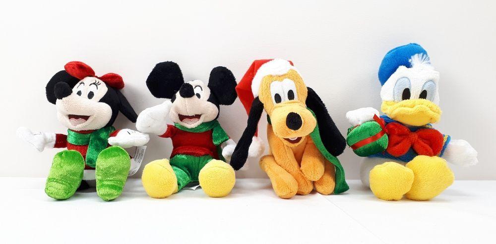 "Disney Holiday Plush Stuffed Toy Dolls 4 Pack Mickey Minnie Donald Pluto 9"" #Disney"
