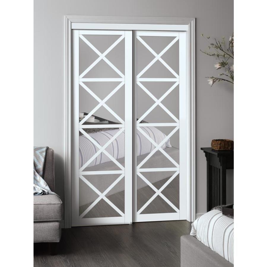 Reliabilt Reliabilt White Flush Mdf Sliding Closet Door Hardware Included Common 48 In X 80 In Sliding Closet Doors Closet Door Hardware Mirror Closet Doors