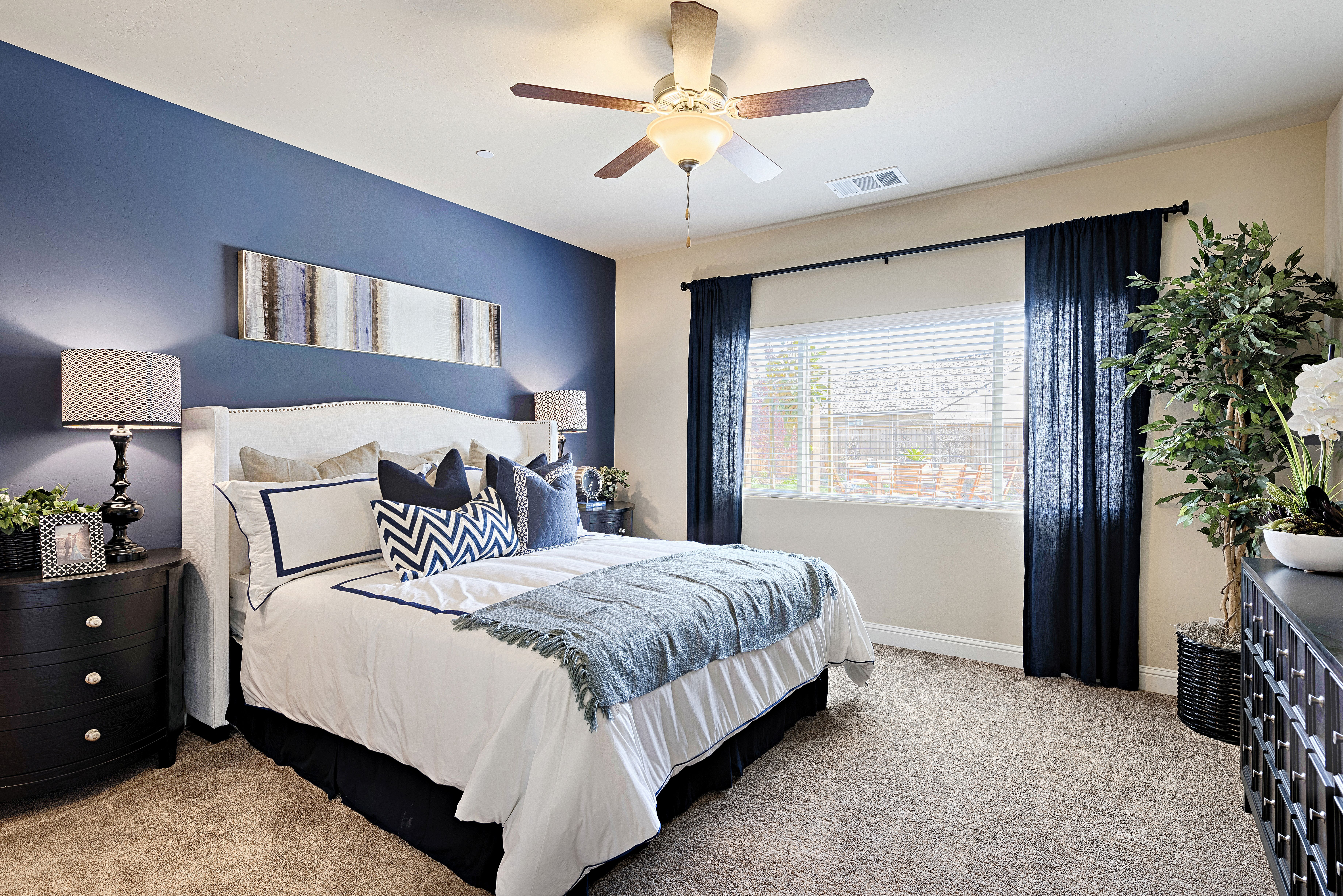 navy blue accent wall master bedroom  besthomish