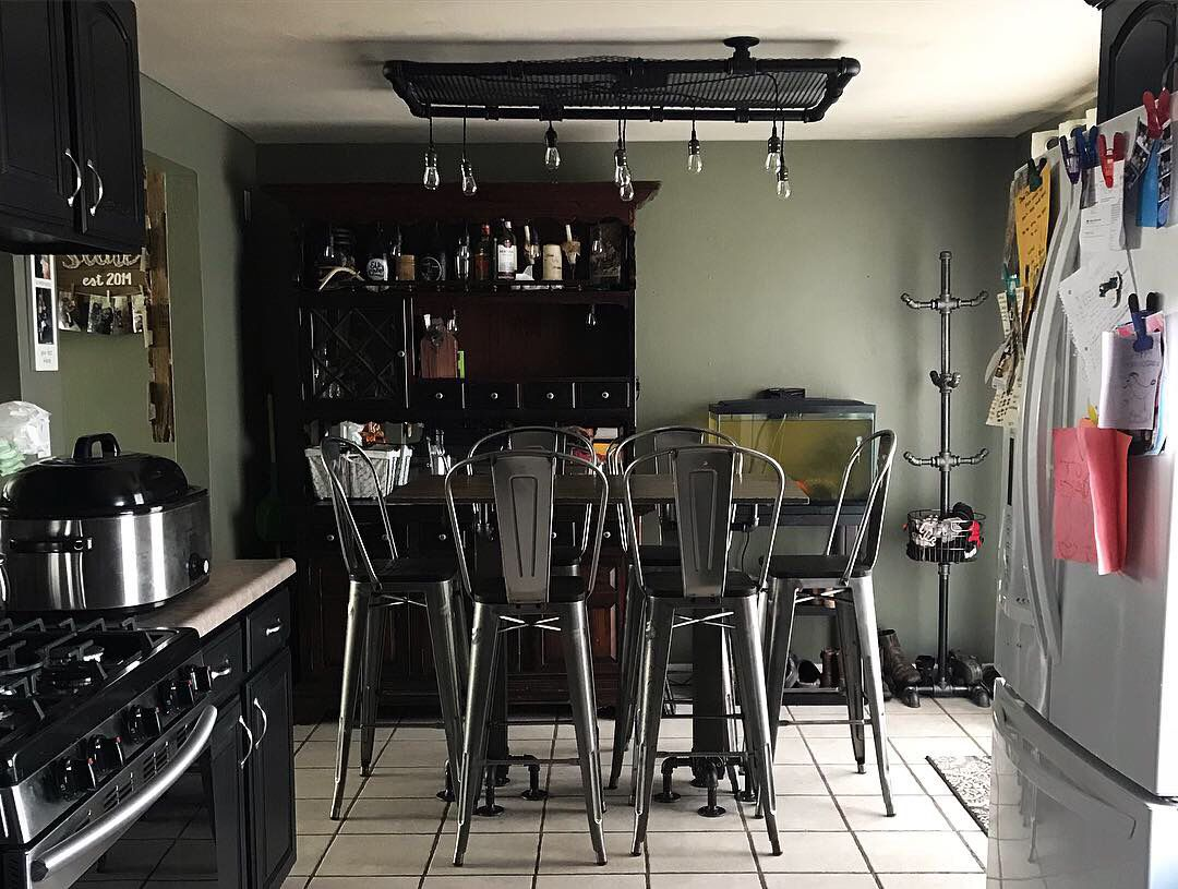Industrial Chandelier And Pub Table Interior Home Decor Pub Table