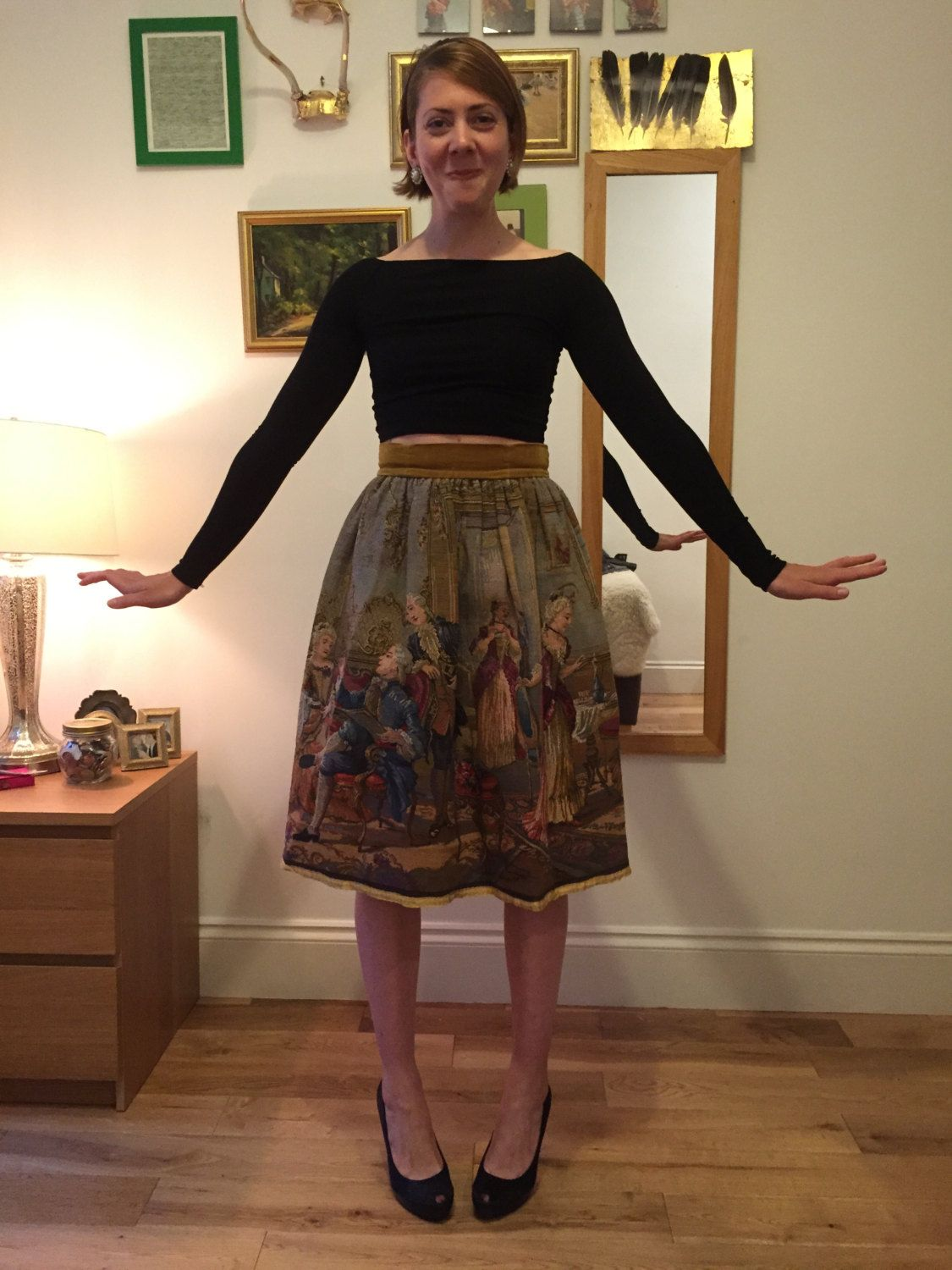 What Is Velvet Made Of Beautiful 1950s Tapestry Skirt Gold Velvet Waist Band
