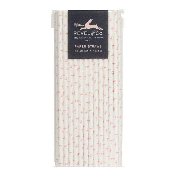 Flamingo Paper Straws PS1105 by RevelAndCo on Etsy