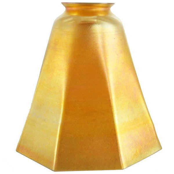 Large American Tiffany Art Nouveau Glass Gold Lamp Shade C