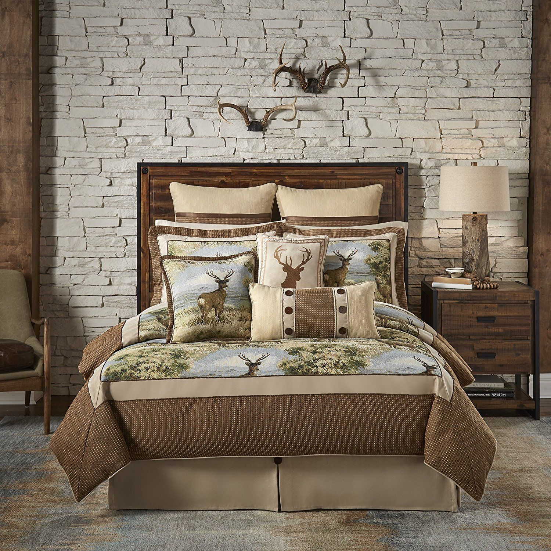 Brown deer cabin themed comforter queen set hunting lodge bedding