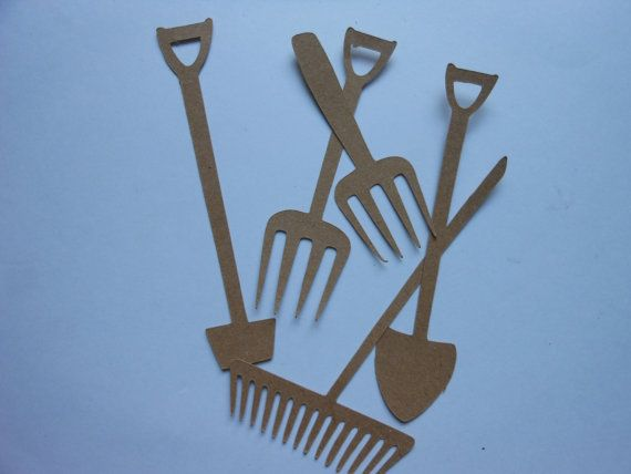 Etsy の Die Cut Garden Tools 2c by CaresCorner