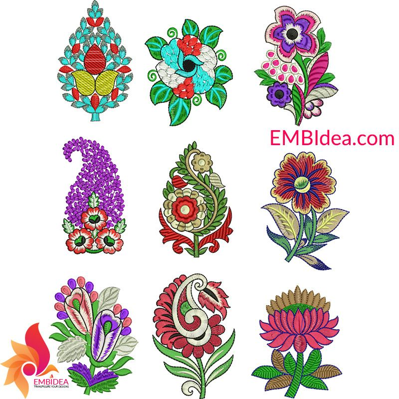 Bulk Of Multi Patches Butta Embroidery Design Free Download In